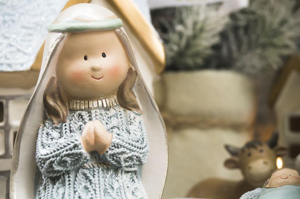 Maria, Madonna, Christmas, Showcase, Toy, Crib, Toys