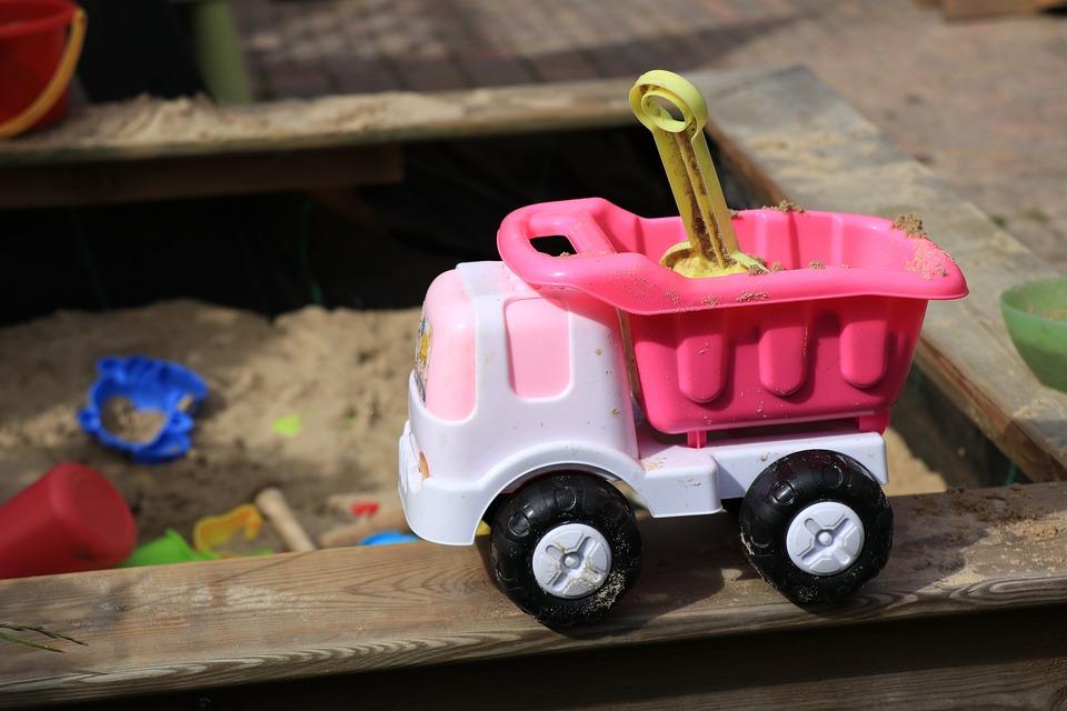 Toys, Sandbox, Sand, Shovel, Car, Play, Toys