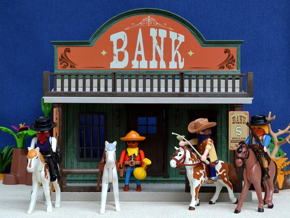 Playmobil, Western, Bank, Usa, America, Robbery, Toys
