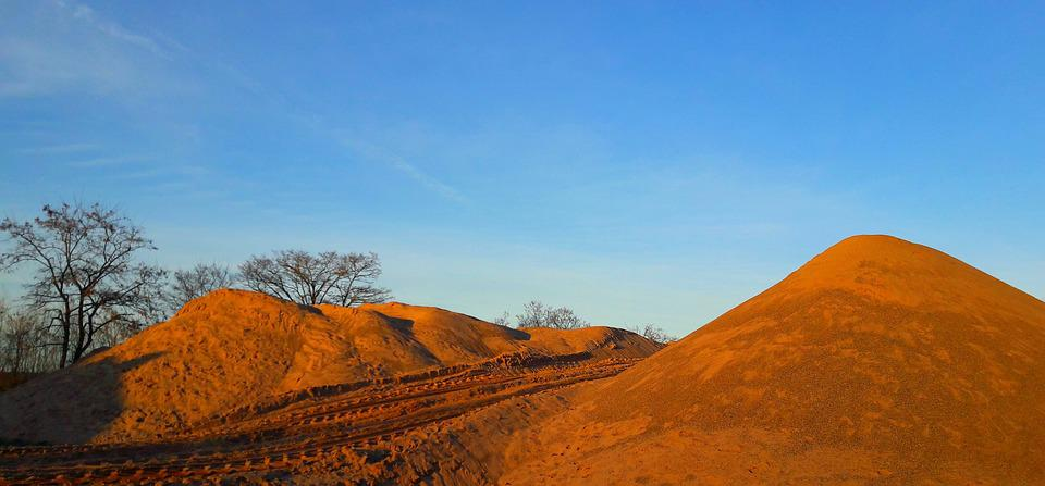 Dunes, Sand, Away, Traces, Tire Tracks, Blue Sky, Trees