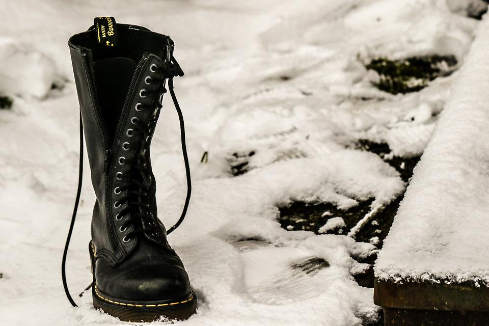 Shoe, Foot Steps, Track, Snow, Dr, Martens, Boots