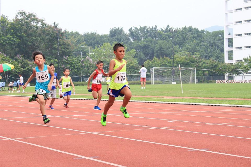 Running Track Kids Sport Race Run Runner Athlete