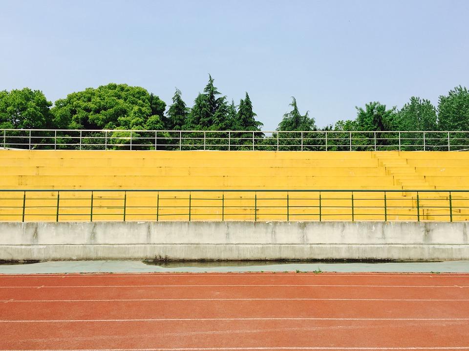 Playground, Bleachers, School, Track, Stadium, Sports