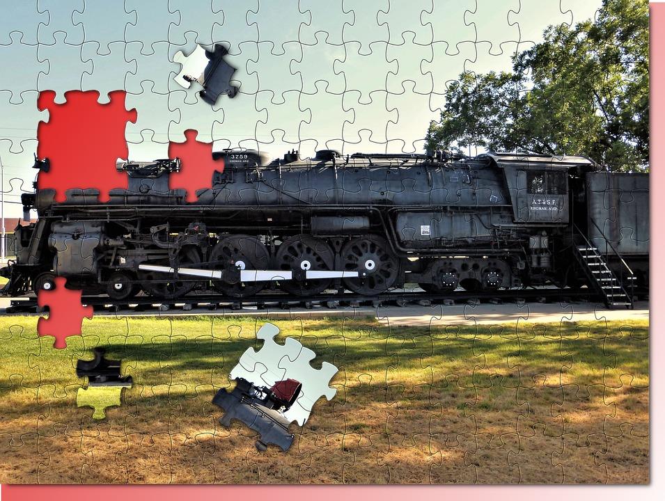 Texture, Puzzle, Usa, Transport, Train, Engine, Track