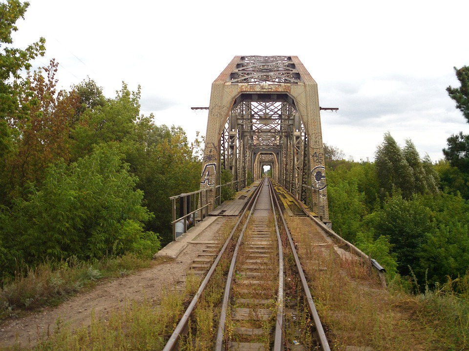Poland, Railroad, Railway, Tracks, Bridge