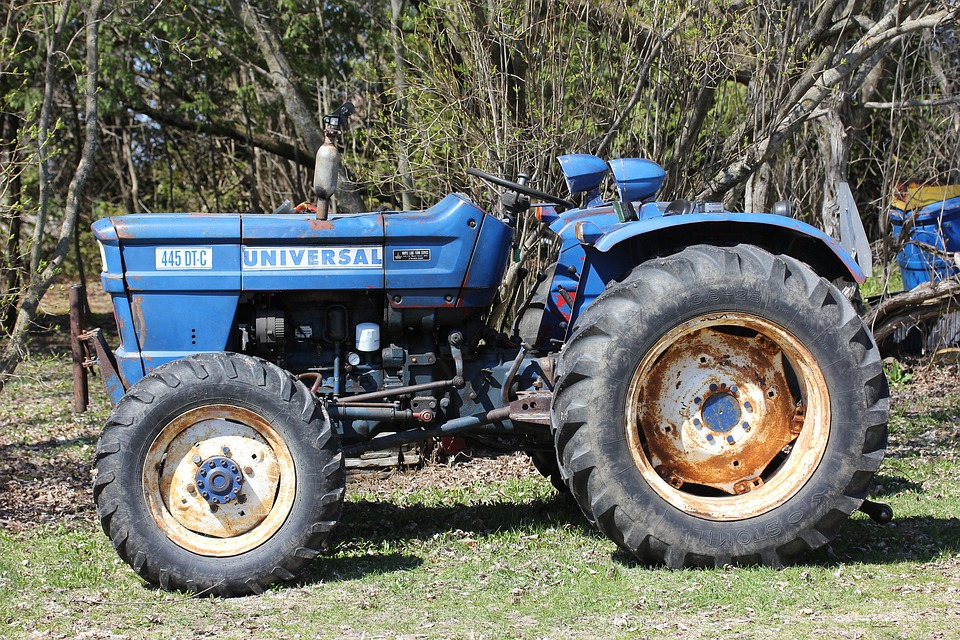 Farm, Tractor, Agriculture, Machinery, Blue, Old, Field