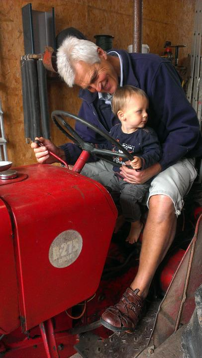 Tractor, Grandfather, Child, Grandson