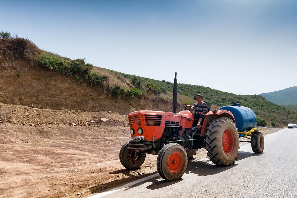 Tractor, Road, Algeria, Agriculture, Faceplate