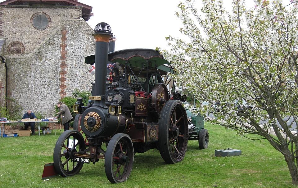 Steam Engine, Windmill, Fete, Tree Blossom, Tractor
