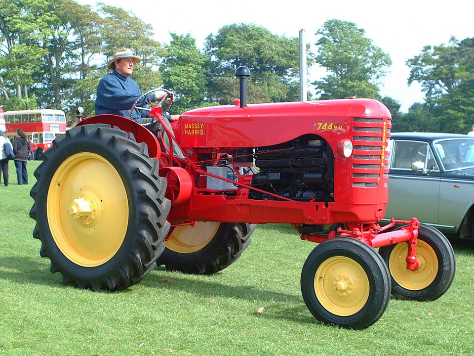 Tractor, Vehicle, Farming, Red, Vintage, Classic
