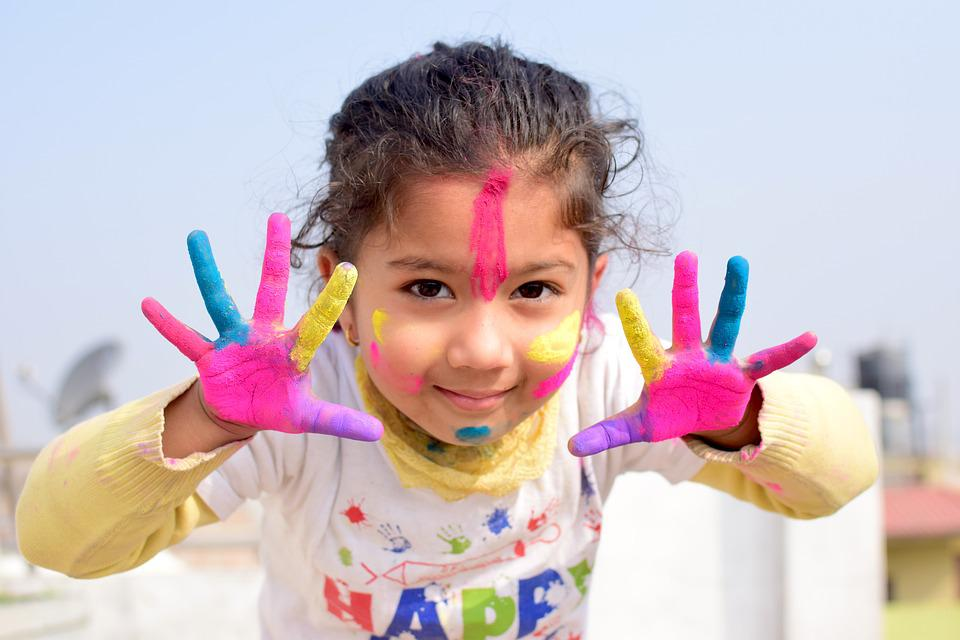 Child, Colors, Nepal, India, Tradition, Customs, Paint