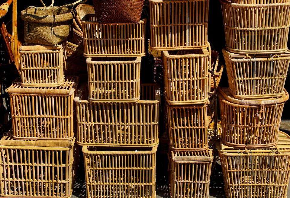 Wicker, Basket, Woven, Traditional, Brown, Handmade