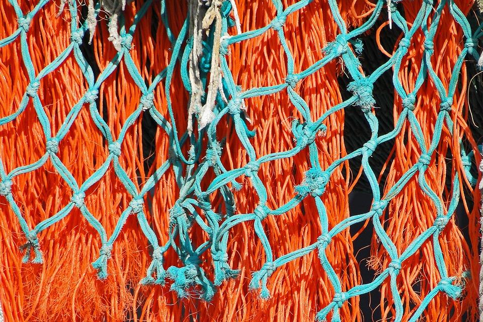 Fishing Net, Mesh, Traditional Fishing, Colors, Port