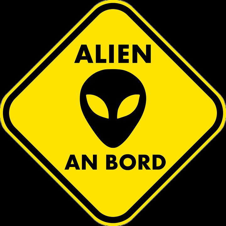 Alien, Warnschild, Traffic, Auto, Extraterrestrial