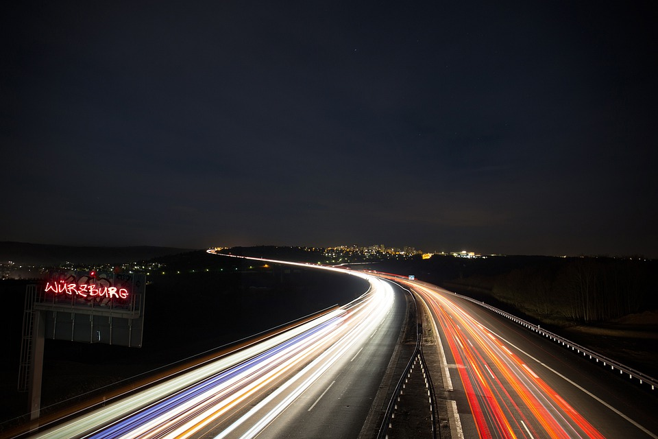 Highway, Traffic, Lightpainting, Lights, Light, Autos