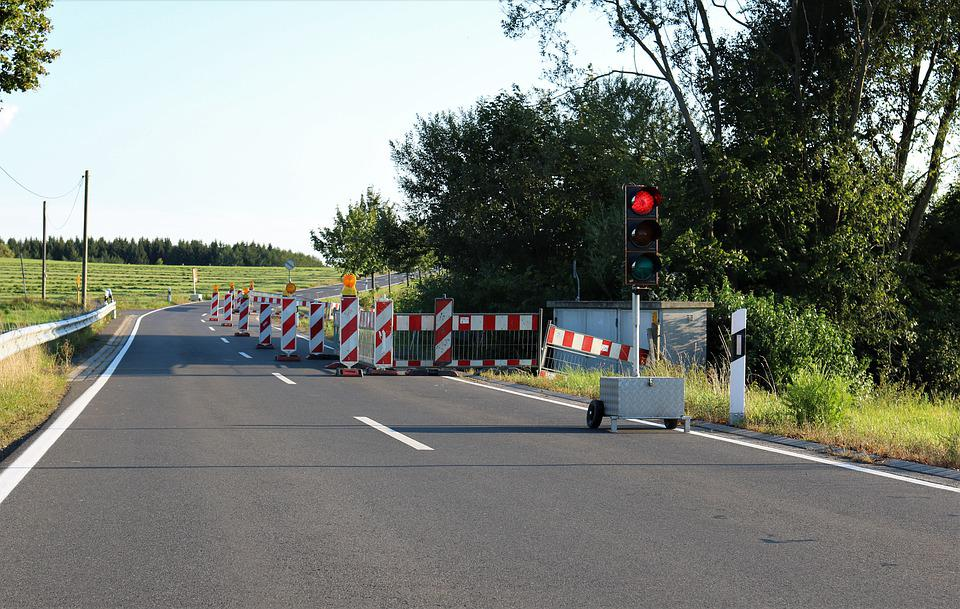 Site, Traffic Lights, Red Light, Asphalt, Warning