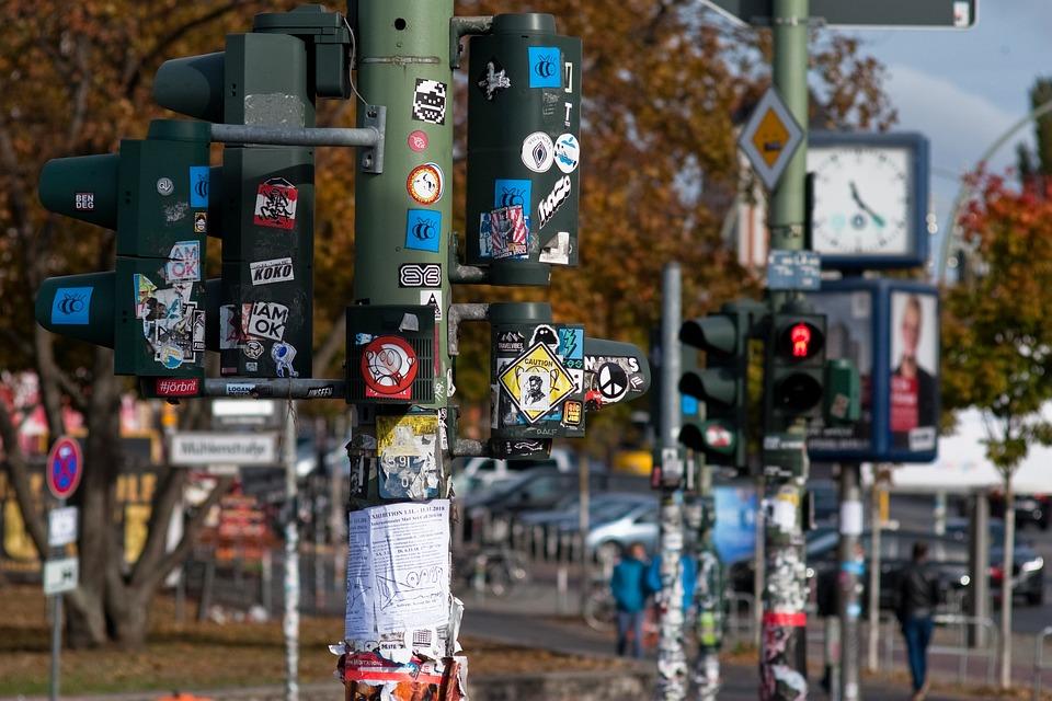Hotels In Berlin, Germany, Traffic Lights, Sticker