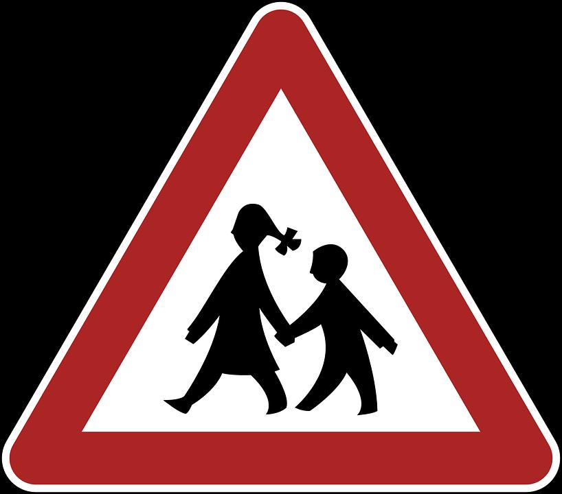Children, Danger, Warning, Road Sign, Traffic, Germany