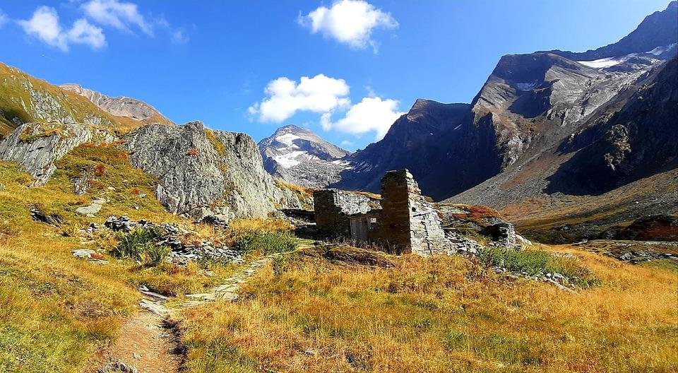 Mountains, Ruins, Abandoned, Path, Trail, Alps, Alpine