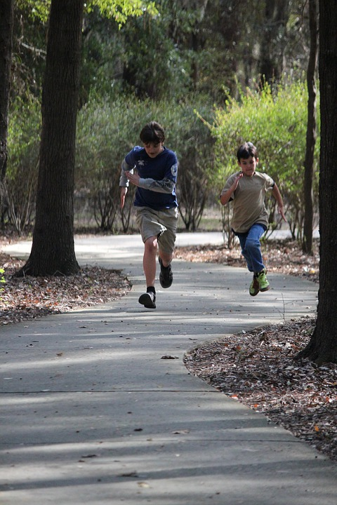 Boys Running, Trails, Summer, Active, Male, Trail