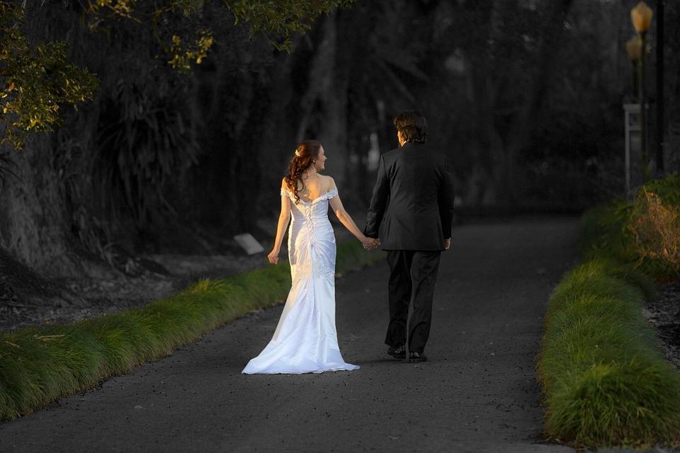 Bride, Wedding, Woman, Man, Both, Trail, Golden Hour