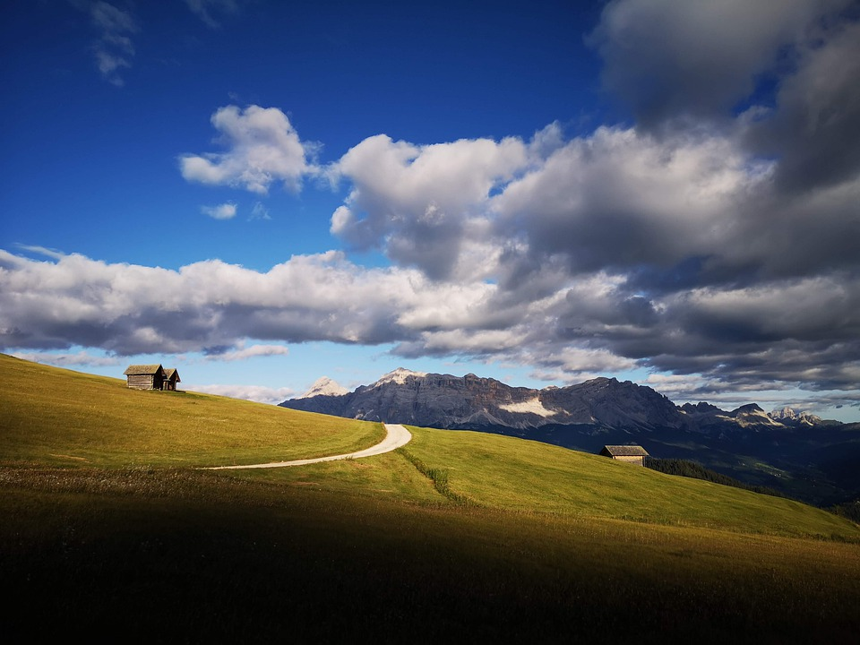 Mountains, Field, Mountain Huts, Clouds, Alps, Trail