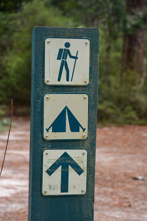 Trail Marker, Camping, National Park, Signpost