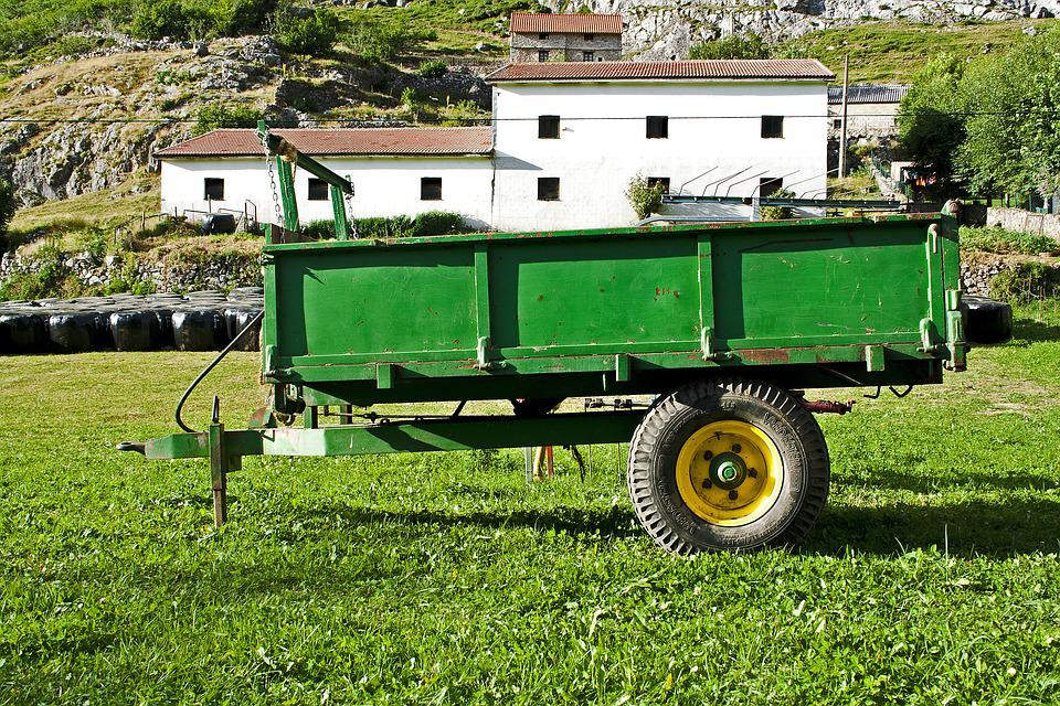 Trailer, Rural, Green, Field, Tractor, Agriculture