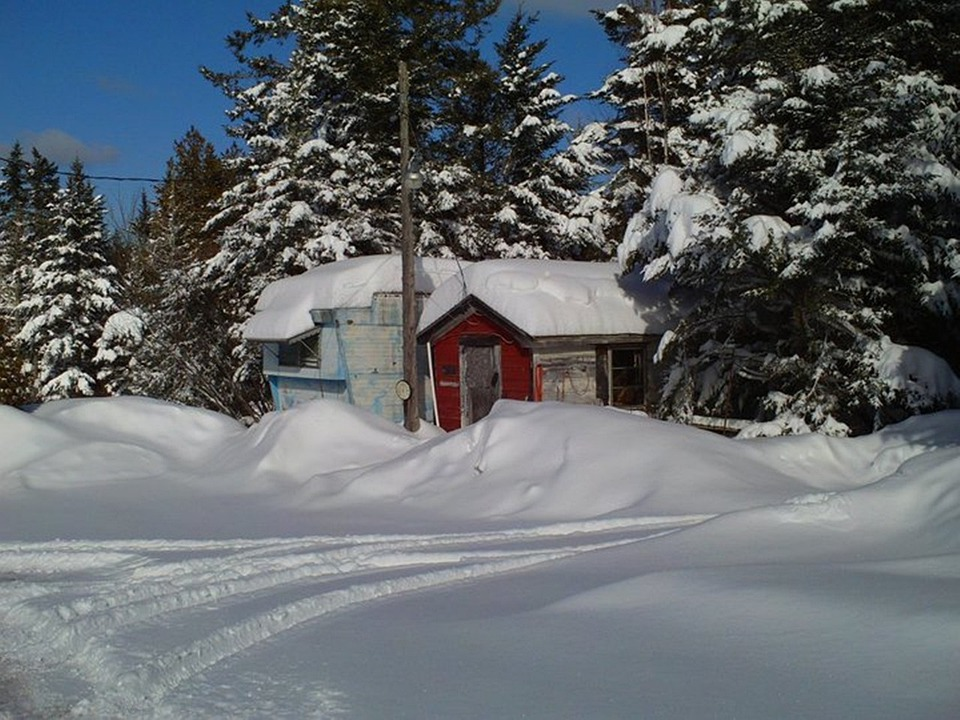 Trailer, Home, House, Maine, Winter, Snow
