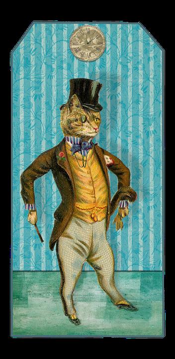 Vintage, Cat, Trailers, Label, Sticker, Bookmark, Old