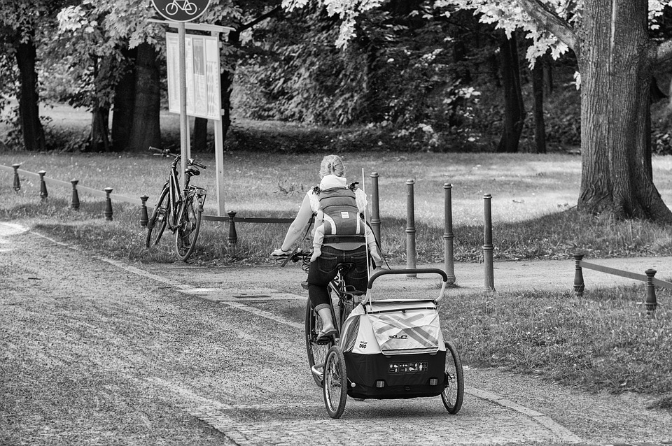 Mother, Woman, Child, Baby, Bike, Cycling, Trailers