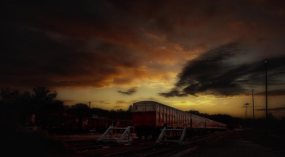 Train, Railroad, Dark, Abandoned Railroad