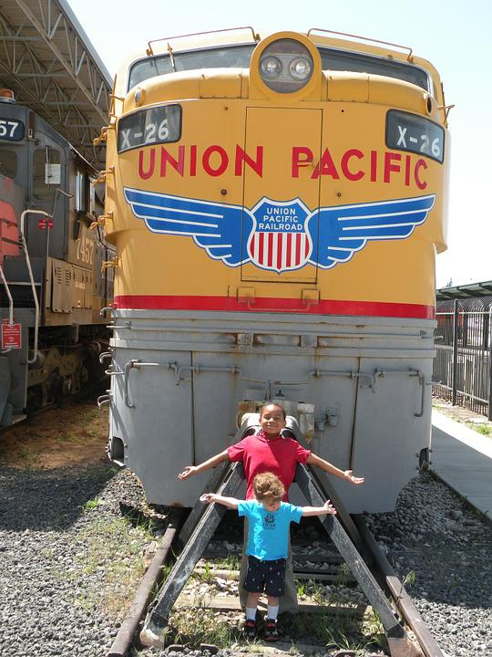 Boys, Train, Tracks, Railroad, Union Pacific, Kids