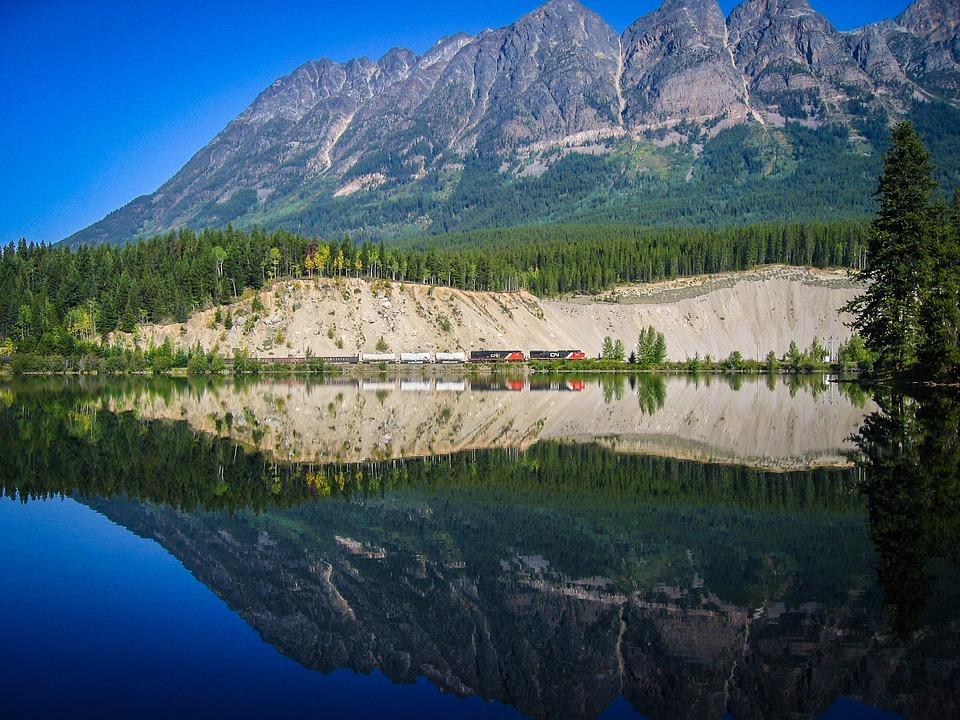 Train, Mirroring, Railway, Lake, Canada
