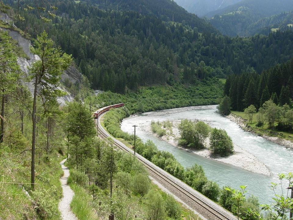 Graubünden, Train, Landscape, River, Valley