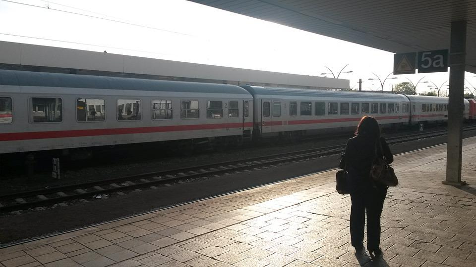 Railway Station, Travel, Woman, Train, Heidelberg