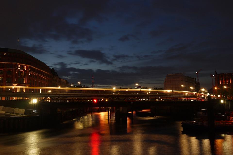 Hamburg, Night, Water, Train, Lights