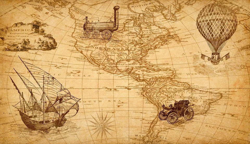 Map, Discovery, America, Ship, Train, Hot Air Balloon