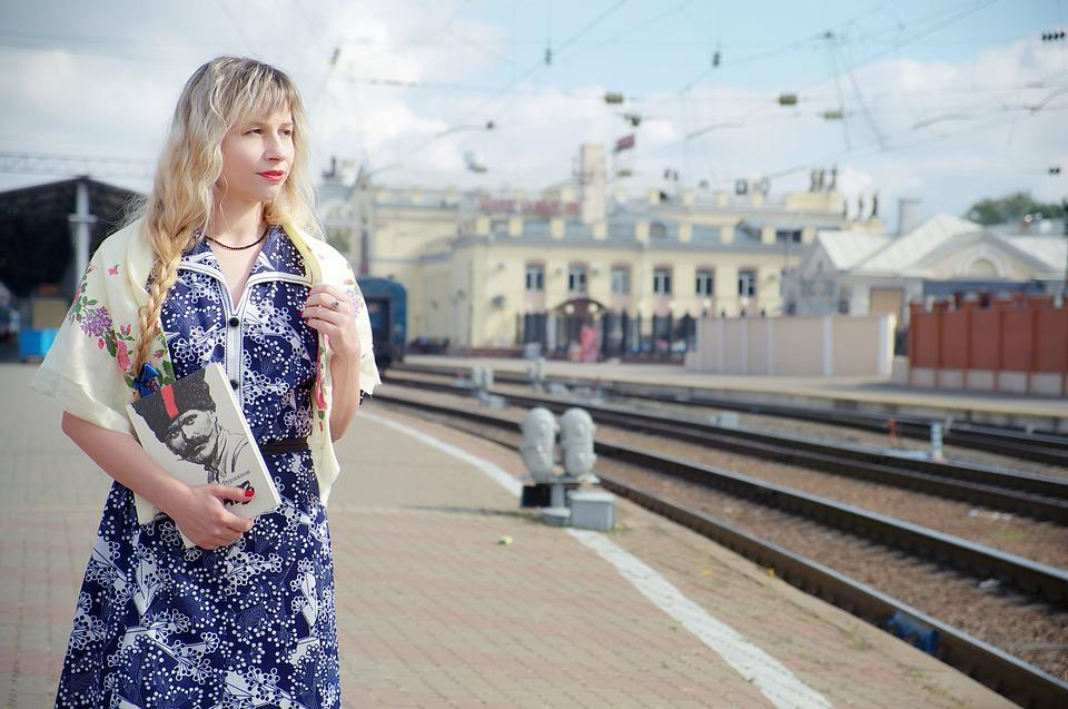 Train, Cars, Perron, Station, The Ussr, Woman