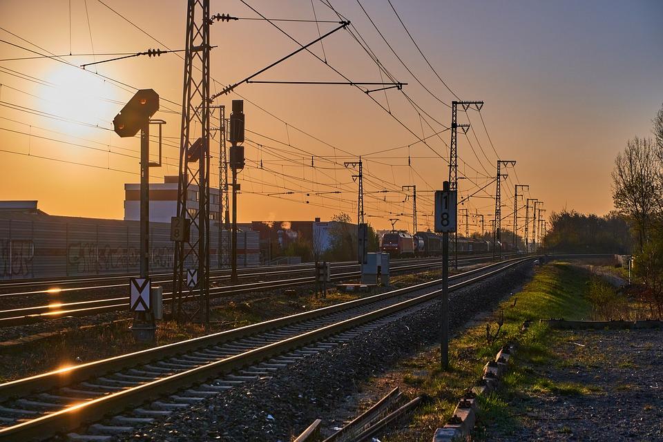 Sunrise, Train, Gleise, Railway, Rail, Transport