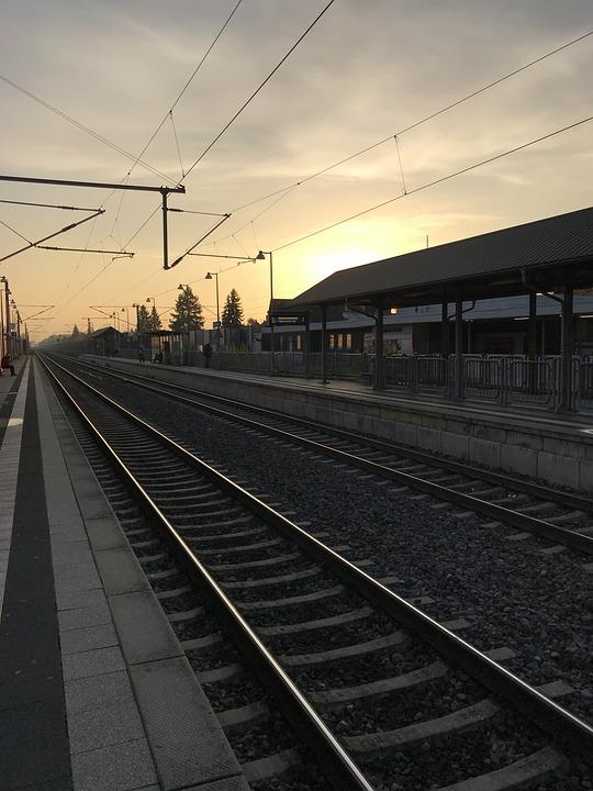 Morgenstimmung, Train, Skies, Sunrise, Deutsche Bahn