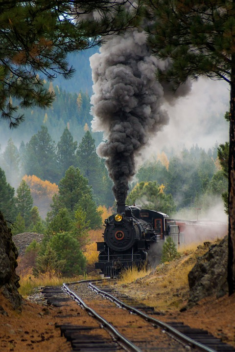 Train, Steam Engine, Engine, Smoke, Train Tracks