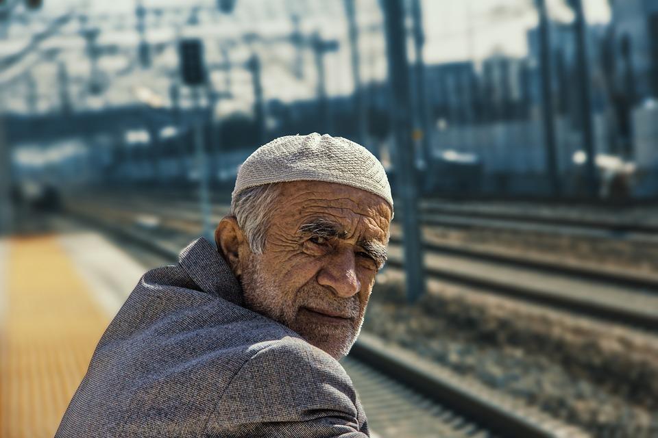 Old Man, Hat, Blazer, Train Tracks, Train Station