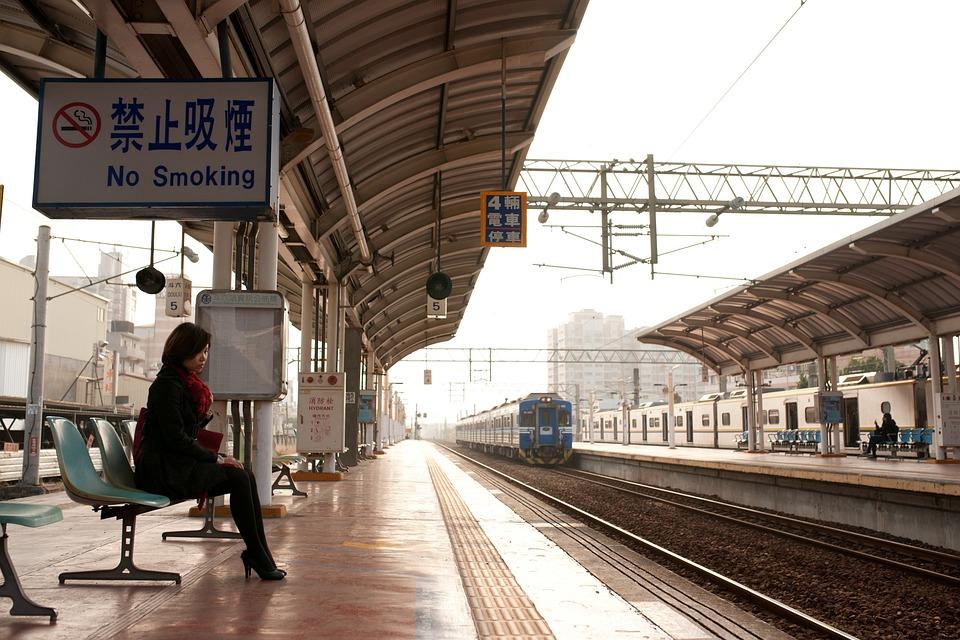 Woman, Platform, Waiting, Train, Tracks, Train Station