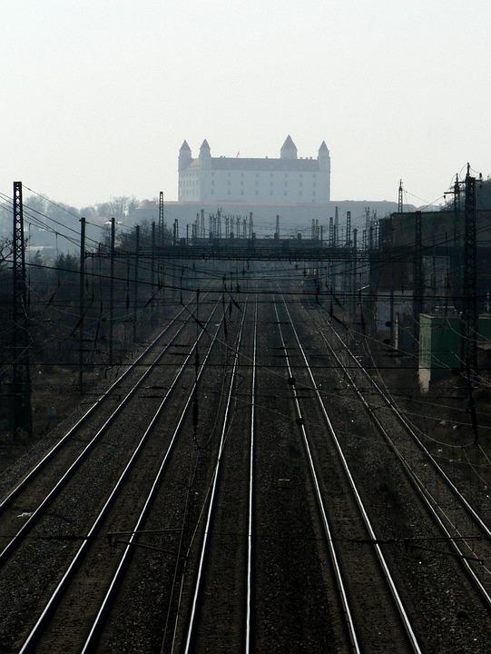 Slovakia, Bratislava, Rails, Castle, Train, Track