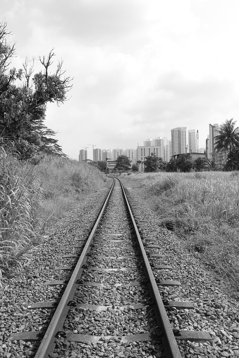 Railway Tracks, Train Tracks, Black And White, Train