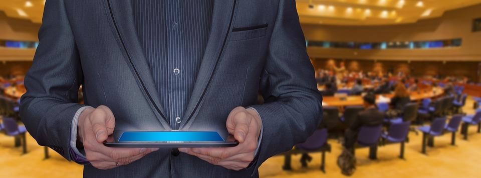Businessman, Tablet, Seminar, Listeners, Training