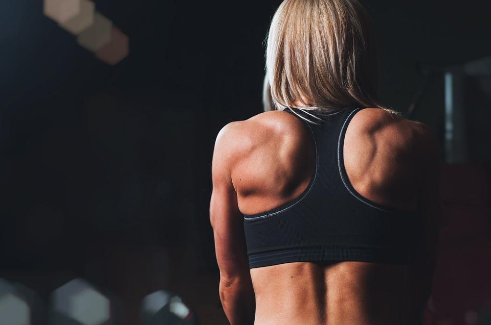 Training, Rmuscles, Back, Shoulders, Blonde, Workout