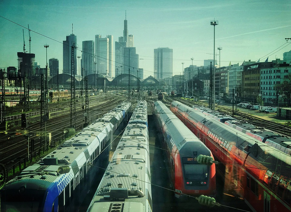 Frankfurt, Skyline, Skyscraper, Trains, Railway