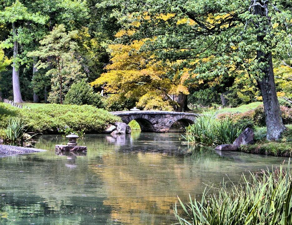 japanese garden stone bridge pond tranquil lake